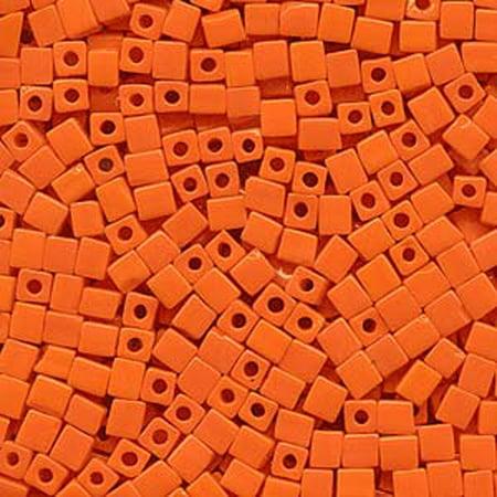 - 20 Grams Opaque Orange Miyuki 4mm Square Cube Glass Seed, Loose Beads,