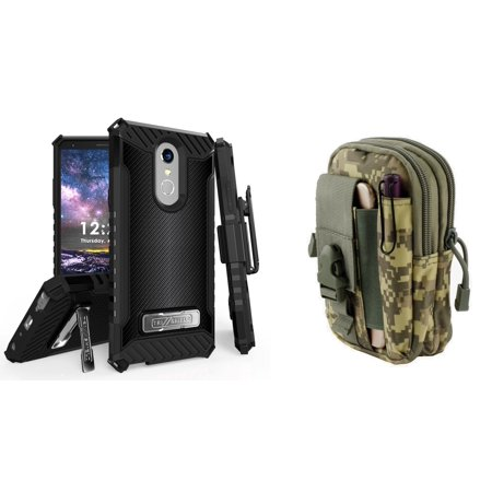 BC Military Grade [MIL-STD 810G-516.6] Kickstand Belt Holster Case (Dark Carbon) with ACU Camo Tactical EDC MOLLE Utility Waist Pack Holder Pouch, Atom Cloth for LG Stylo 4+ Plus/LG Stylo 4 (2018) (Carbon Fiber Canoe Paddles)