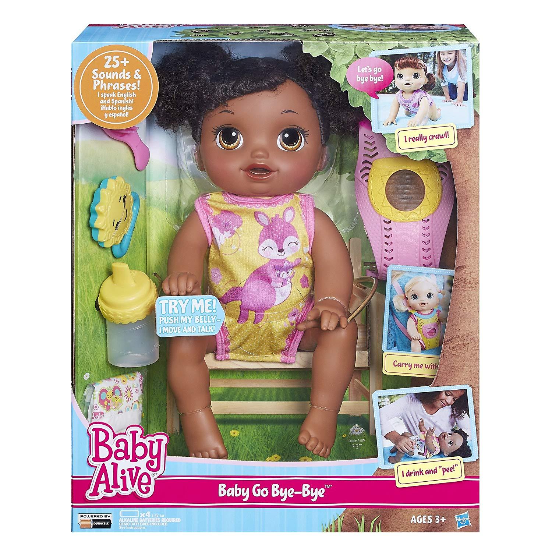 Baby Alive Baby Go Bye Bye - Black Hair  Baby Doll ,Talks English/Spanish New !