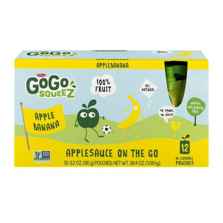 Gogo Squeez Apple Banana Applesauce On The Go  3 2 Oz  12 Count