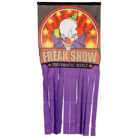 Halloween Haunters Hanging Clown Face Doorway Entryway Window Curtain Door Cover](Halloween Drake)
