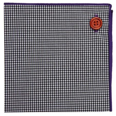 Pocket Square 100% Cotton, Black White Gingham Plaid Purple Border, Button