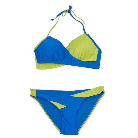 (YMI Swimwear Women Blue Lime Criss Cross Accent 2 Pc Bikini Swimsuit)