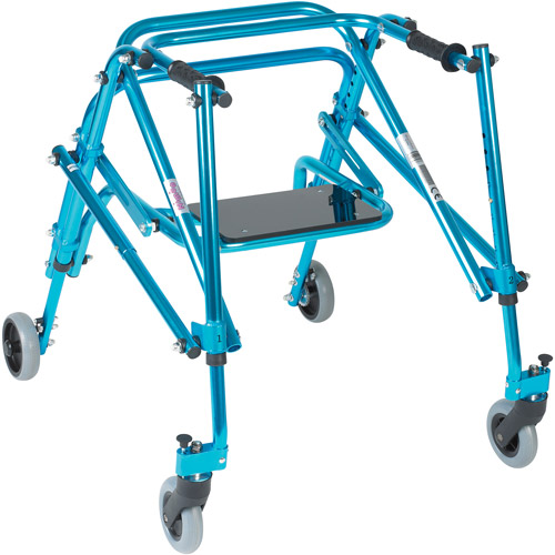 Drive Medical Nimbo Rehab Lightweight Posterior Posture Walker with Seat, Youth, Cornflower Blue