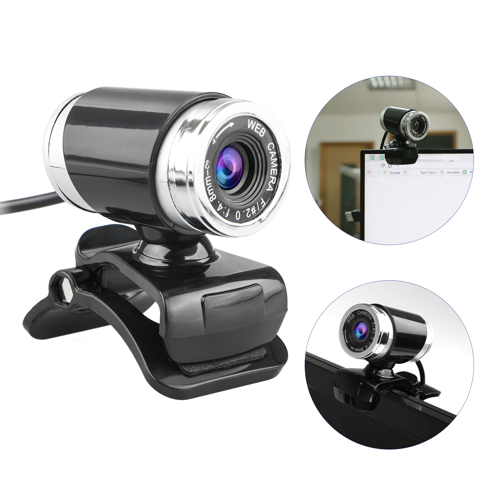 Webcam USB 12 Megapixel HD Pro Widescreen Video Full 1080p Camera , Built in Microphone and Stand for Windows PC, Laptops and Apple OS X