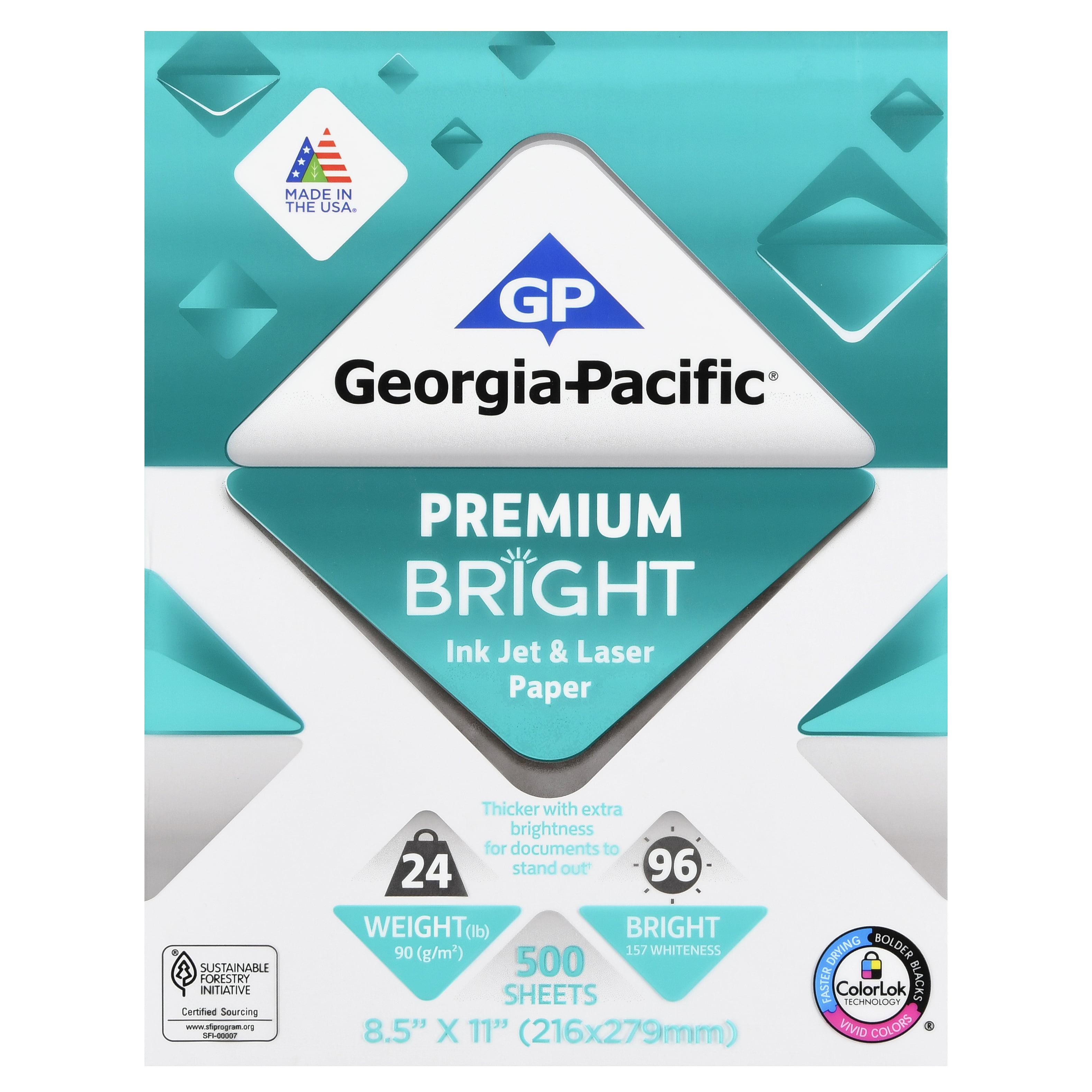 "Georgia-Pacific Premium Bright Inkjet and Laser Paper, 8.5"" x 11"", 24 lb, 96 Brightness, 500 Sheets"
