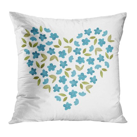 ECCOT Colorful Abstract Watercolor Blue Simple Flower and Green Leaf Heart Shape Beautiful Blossom Botanical Pillowcase Pillow Cover Cushion Case 18x18 inch