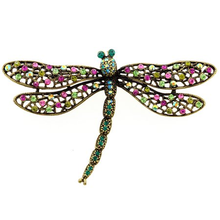 - Multicolor Dragonfly Crystal Pin Brooch And Pendant