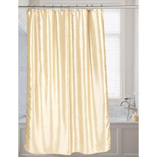 Carnation Shimmer Faux-Silk Shower Curtain - Ivory