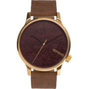 Mens Winston Gold Wood Analog Stainless Watch - Brown Leather Strap - Wood Dial - KOM-W2021