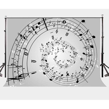 GreenDecor Polyster 7x5ft Music Note Wall Backdrop Music Melody Photo