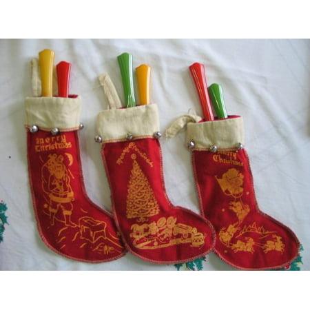 Retro Christmas Felt Stocking Ornaments Set of 3 (Stocking Ornament Set)