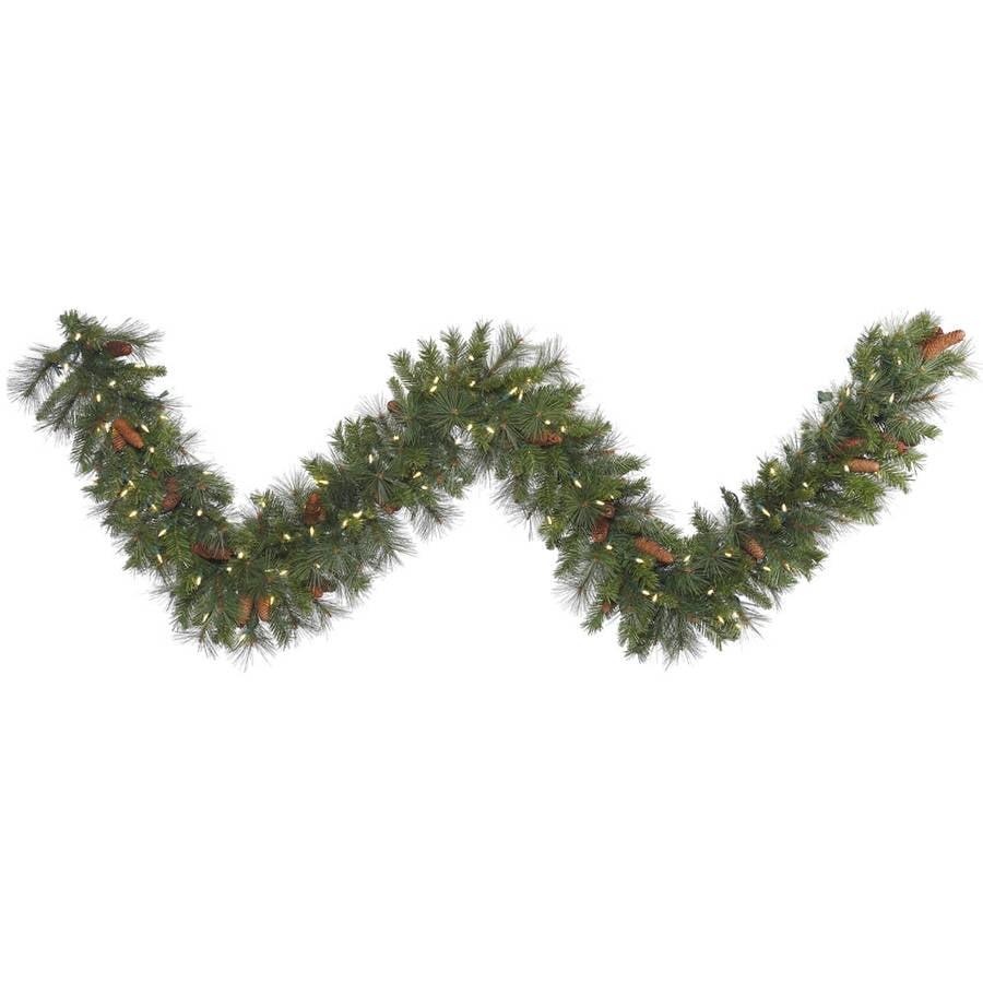 "Vickerman 25' x 20"" Savannah Mixed Pine and Cones Garland featuring 350 Clear Lights"