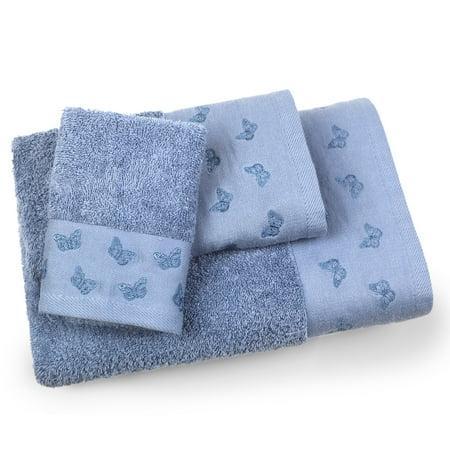 Blue Butterfly Towel (Butterfly 3 Piece Towel Set in Lake Blue)