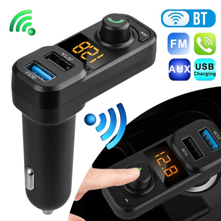 TSV Car Audio FM Receiver Adapter, Hands Free Wireless Bluetooth FM Transmitter Adapter Car Kit Dual USB QC 3.0 Fast Charging Port Car Charger Compatible with Apple and Android Phones (Landline Phone Bluetooth Adapter)
