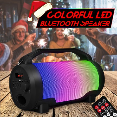 Colorful LED Super Bass HIFI Stereo Wireless FM/TF/USB/AUX bluetooth Speaker Subwoofer Remote Control Boombox with LCD Screen & Mic Hole DJ Dancing Party Outdoor (Outdoor Boombox)