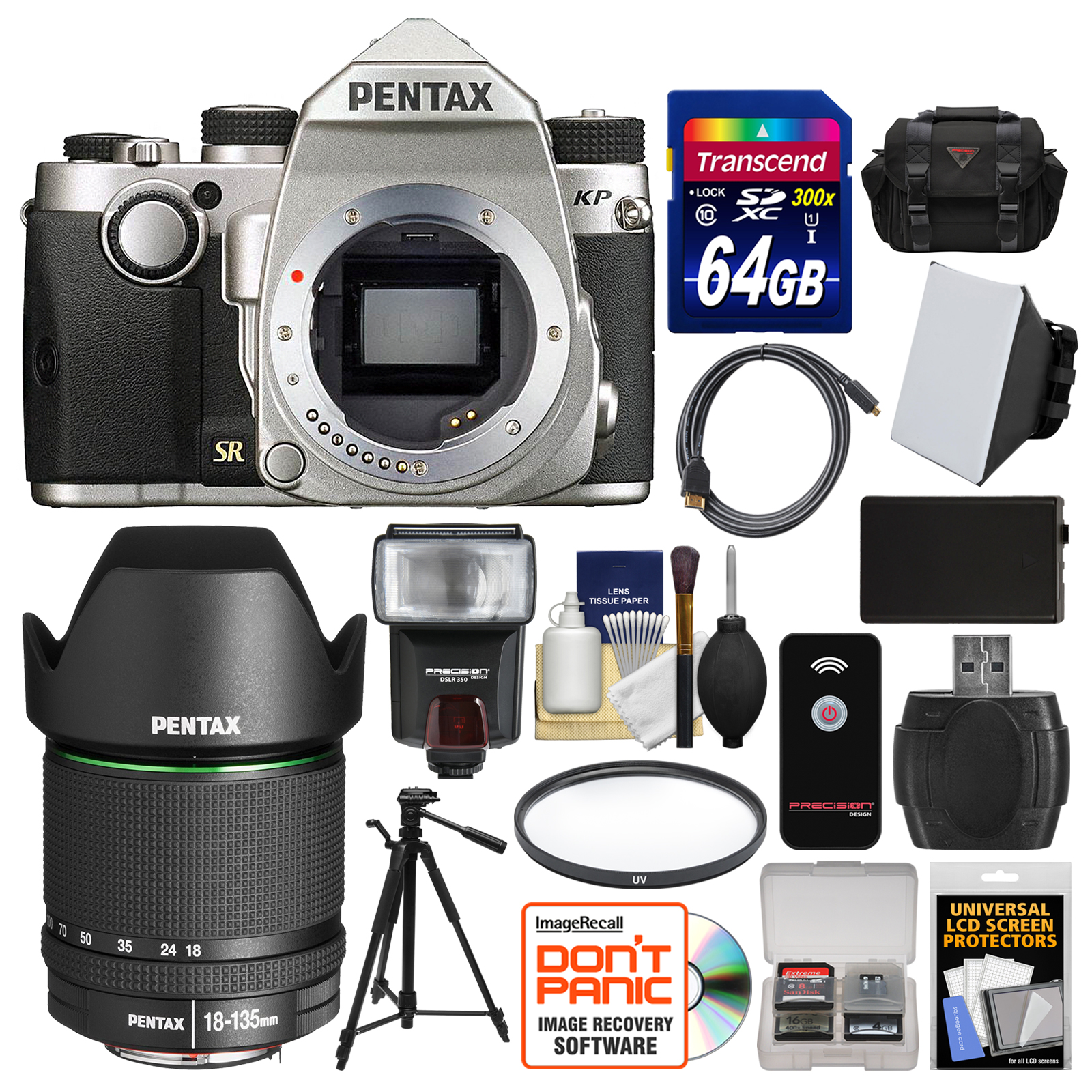 Pentax KP Wi-Fi Digital SLR Camera Body (Silver) with 18-135mm Lens + 64GB Card + Case + Flash + Battery +... by Pentax