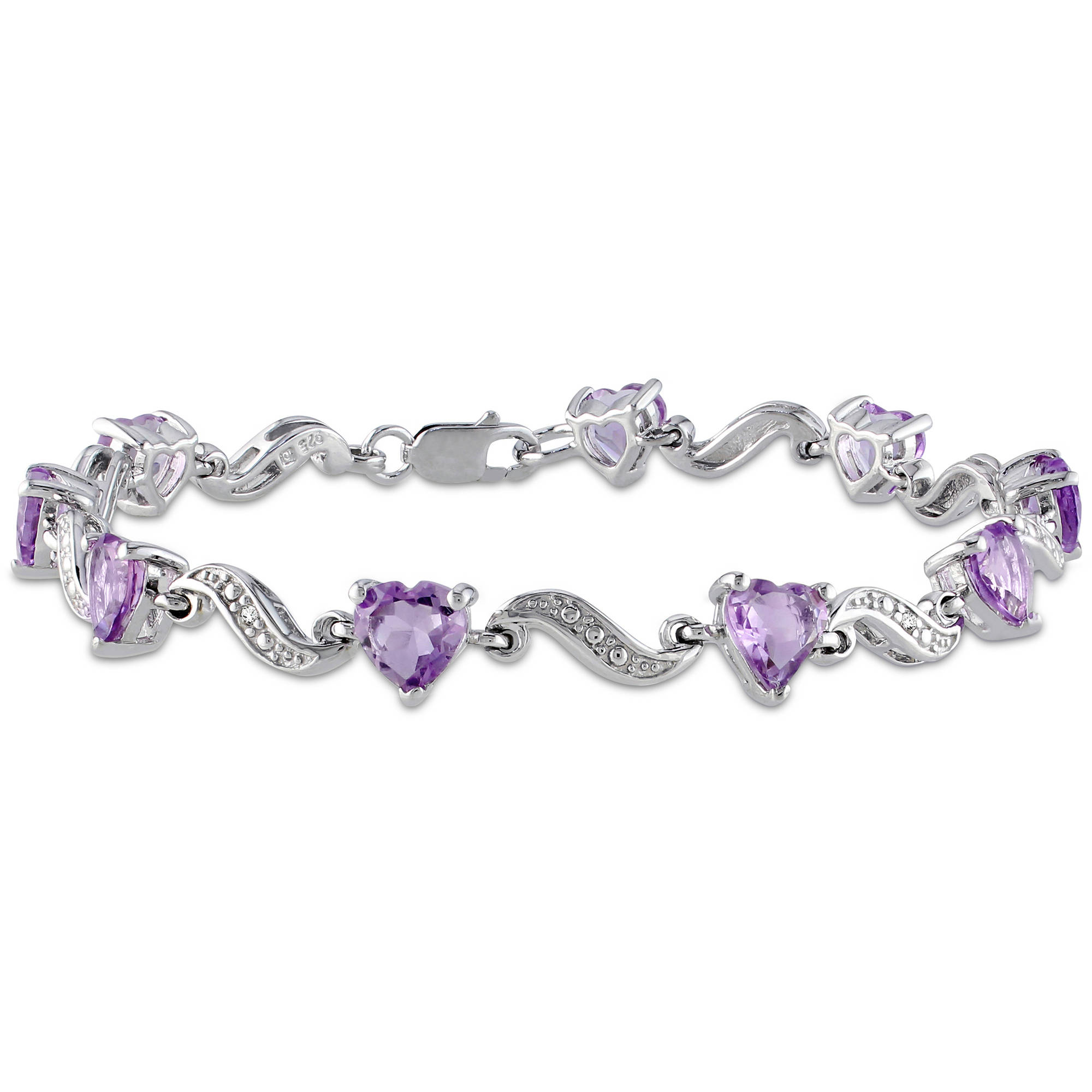 "5 Carat T.G.W. Amethyst and Diamond Accent Sterling Silver Heart Bracelet, 7"" by Generic"