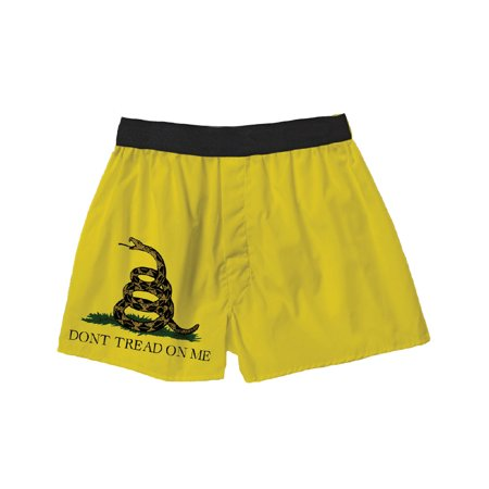 Brief Insanity Don't Tread On Me Gadsden Flag Rattlesnake Yellow Silky Patriotic Unisex Boxer Shorts Gifts for Men (Cloudveil Run Dont Walk Boxer)