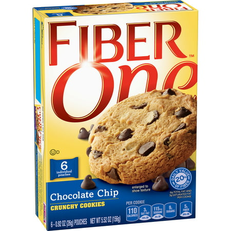 (2 Pack) Fiber One Chocolate Chip Crunchy Cookies, 5.52 oz Box - Chocolate Dipped Fortune Cookies