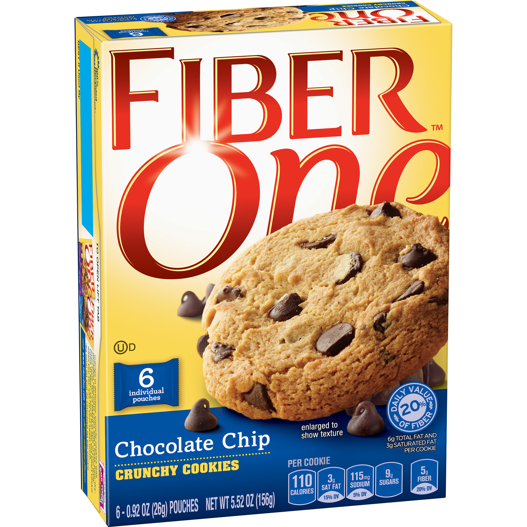 (2 Pack) Fiber One Chocolate Chip Crunchy Cookies, 5.52 oz Box