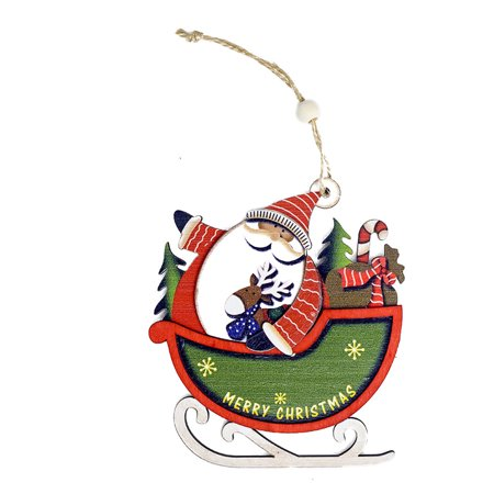 Santa Christmas Tree Cute Wood Sleigh Pendant Gift Home Hanging Decorations (Sleigh Hanging Decoration)