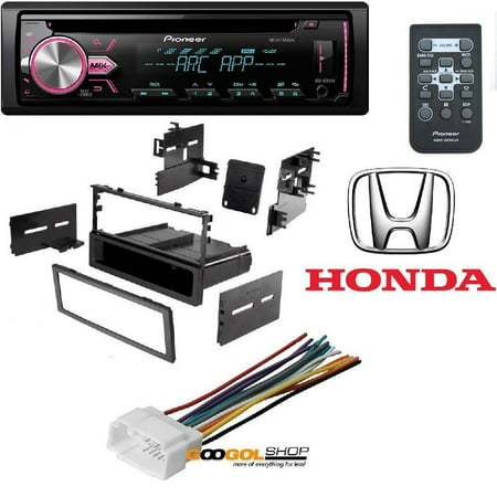 Pioneer Single DIN In-Dash CD Car Stereo Receiver w/ Variable Color CAR STEREO DASH INSTALL MOUNTING KIT WIRE HARNESS FOR HONDA 1986- 2008 ()