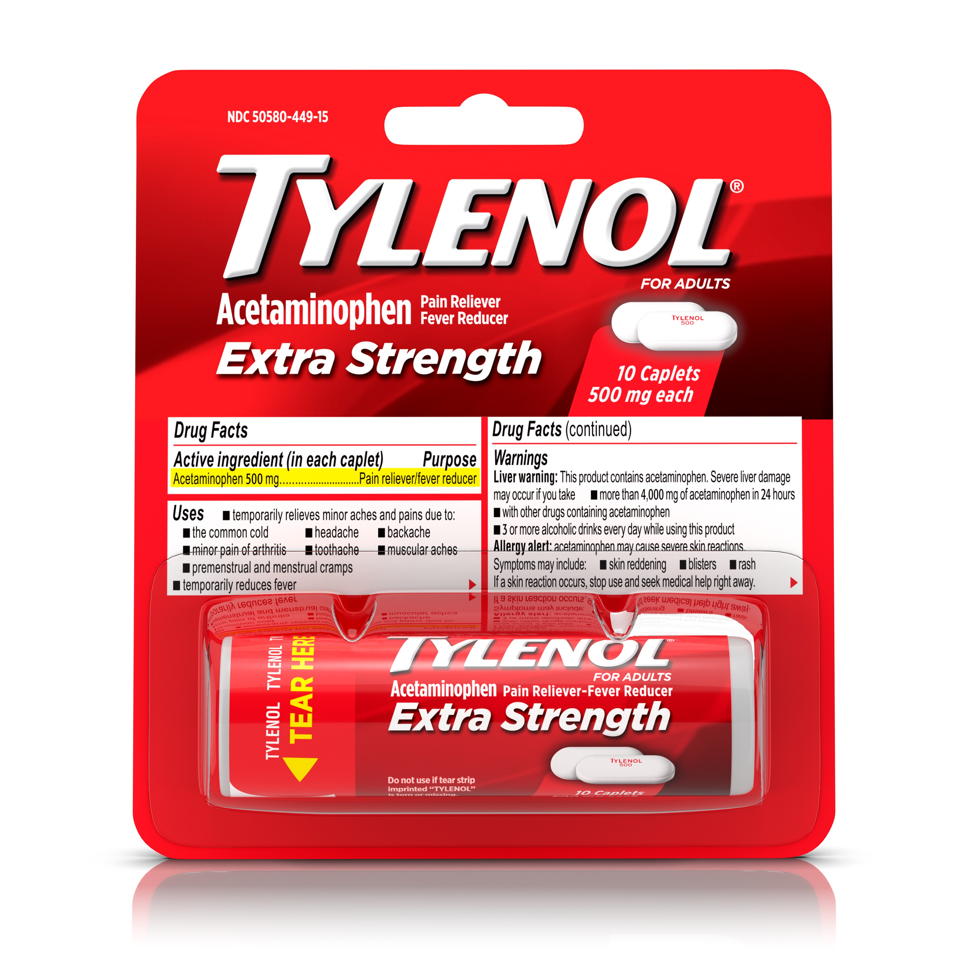 (4 Pack) Tylenol Extra Strength Caplets, Fever Reducer and Pain Reliever, 500 mg, 10 ct.