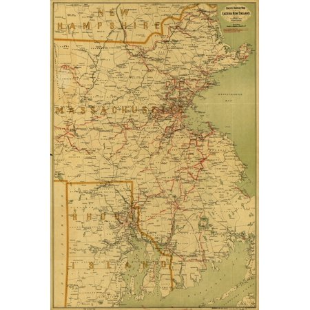 - Electric railway map of eastern New England Poster Print