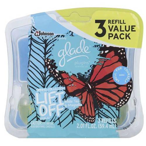 Glade PlugIns Lift Off White Tea & Magnolia Scented Oil Refills, 3 count, 2.01 fl oz