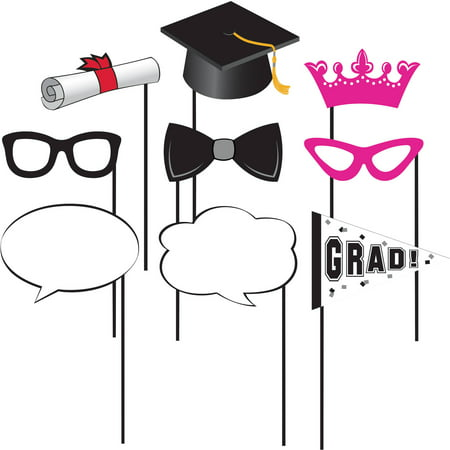Graduation Photobooth Props, 10 pack