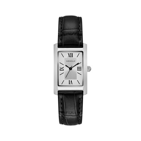 Caravelle Women's Classic Rectangular Black Leather Strap Dress Watch (Rectangular Watches)