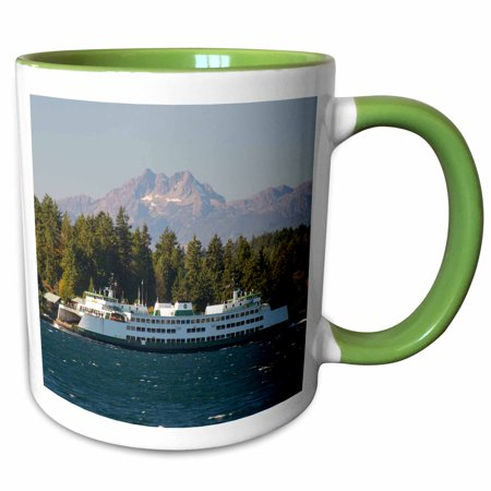 3dRose US, WA. Bremerton, Seattle ferry in Rich Passage, fall color, whitecaps. The Brothers - Two Tone Green Mug,