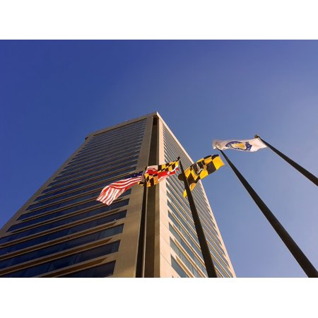 Canvas Print Maryland Flags Building City World Trade Center Stretched Canvas 10 x 14