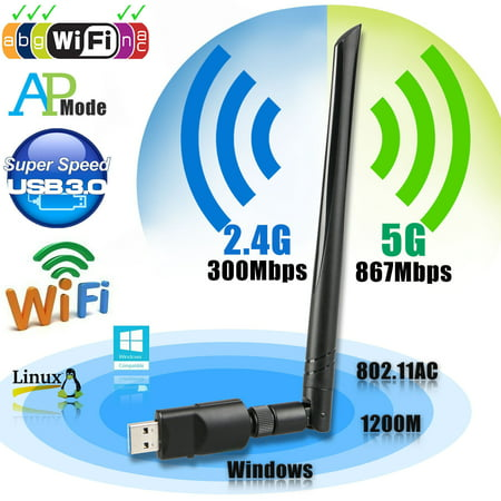 - Wireless USB wifi Adapter, EEEKit 1200Mbps 2.4GHz/5GHz Dual Band WIFI Adapter 802.11AC Wireles USB 3.0 Network w/ Antenna for Computer PC Win XP/7/8/10,MAC,Linux