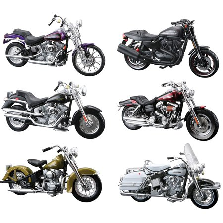 harley davidson motorcycle 6pc set series 29 1 18 by maisto. Black Bedroom Furniture Sets. Home Design Ideas