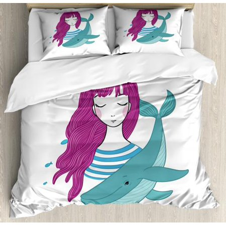 Girls King Size Duvet Cover Set, Illustration of a Teenage Girl with Closed Eyes and a Funny Whale, Decorative 3 Piece Bedding Set with 2 Pillow Shams, Magenta Turquoise and Blue, by Ambesonne ()