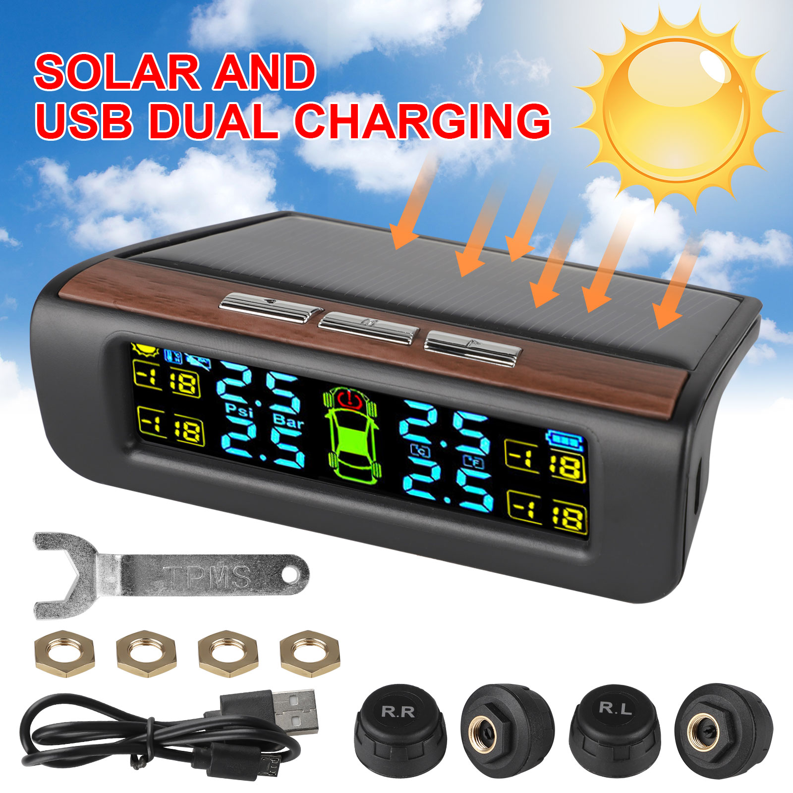 Invtek Solar Power RV TPMS Tire Pressure Monitoring System with 6 Wireless External Sensors for Truck//Tow Trailer//RV//Pickup Truck TPMS and Real-time Alarm Pressure with Temperature LCD Display
