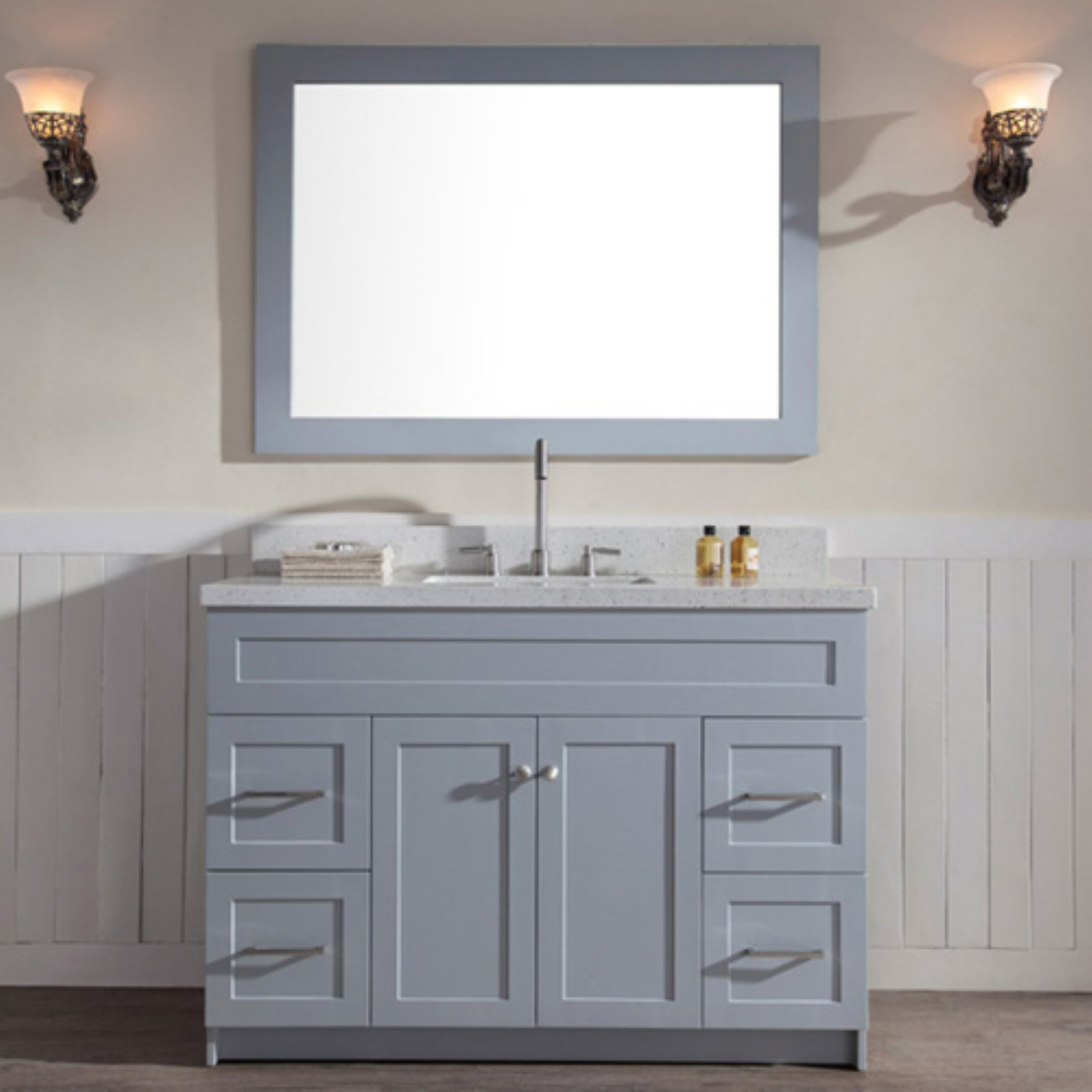 Ariel Hamlet 49 In Bath Vanity In Grey With Quartz Vanity Top In White With White Basin And Mirror Walmart Com Walmart Com