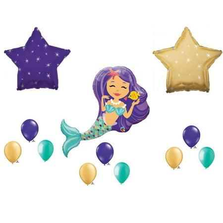 Mermaid Birthday Decorations (Mermaid with Purple & Gold Stars Birthday Party Balloons Decoration)