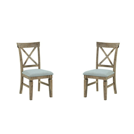 Emerald Home Valencia Reclaimed Pine and Black Dining Chair with Upholstered Seat, Cross Back, And Carved Front Legs, Set of Two
