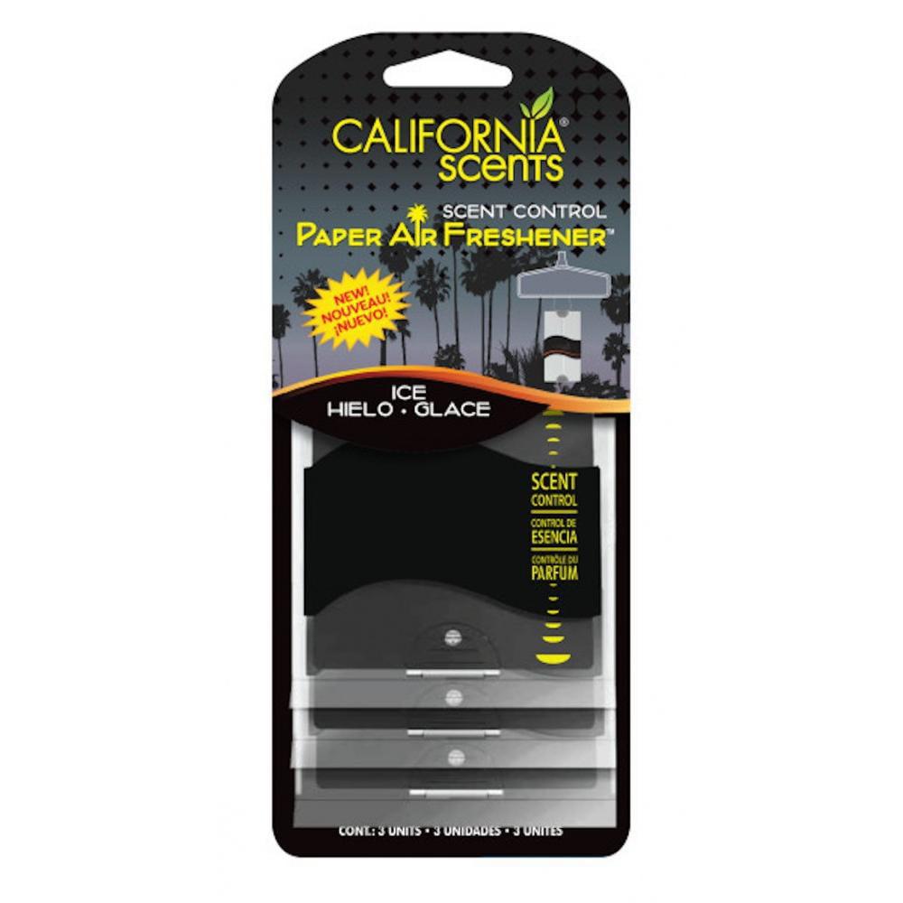 California Scents Car Odor Eliminating Paper Ice Scent, 3Pk