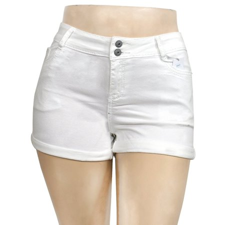 Jack David Womens Plus Size White Denim Jean Curvy Shorts W/ USA Flag Patch 1317