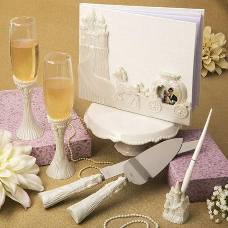 Toasting Flutes And Cake Knife (Fairytale Design / Cinderella Themed Wedding Accessory Set Including Flute Set, Cake Knife Set, Pen ,)