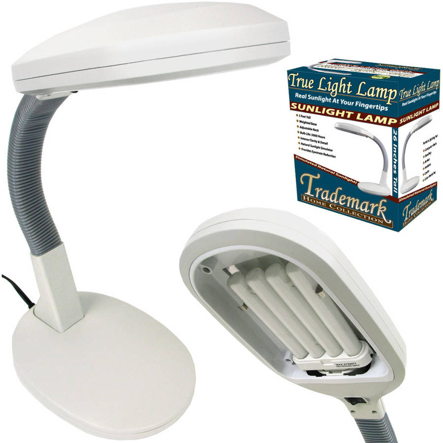 Natural Sunlight Desk Lamp, Great For Reading and Crafting, Adjustable Gooseneck, Home and Office Lamp by Lavish Home, White