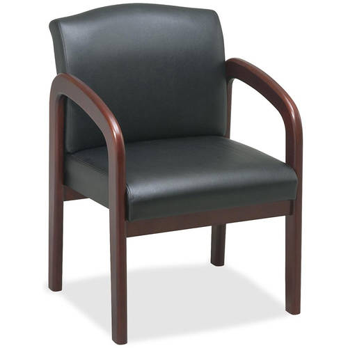 Lorell Deluxe Faux Guest Chair, Black Cherry