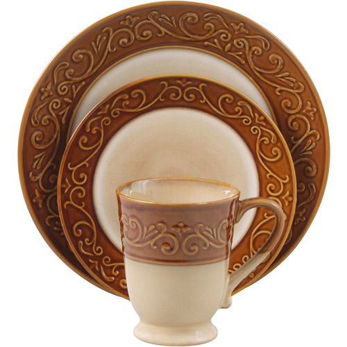 Better Homes And Gardens Embossed Scroll 16 Piece Dinnerware Set    Walmart.com