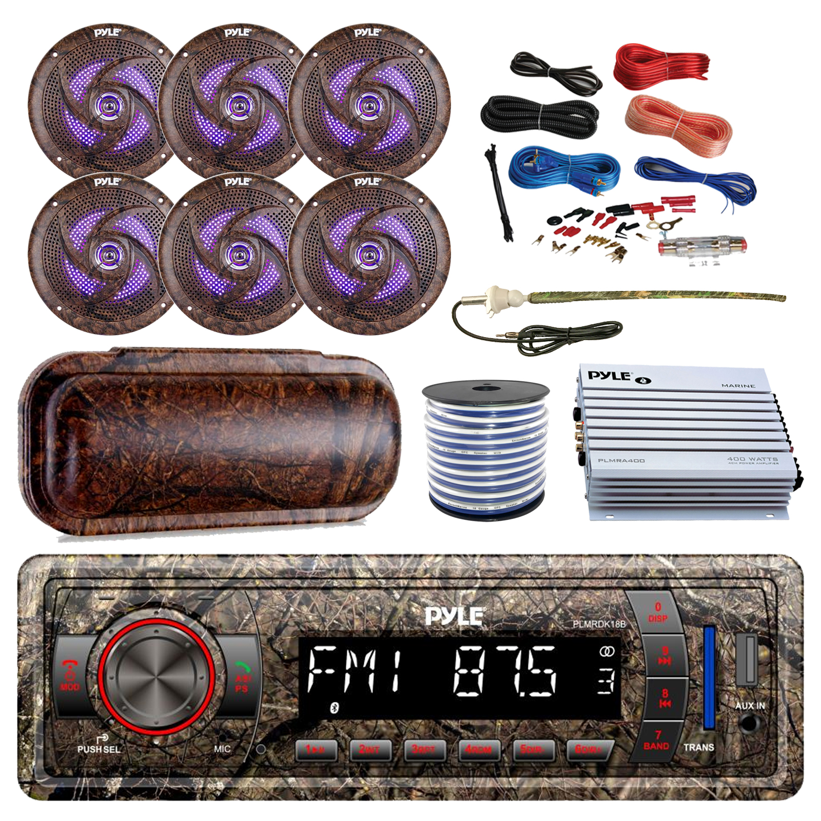 Marine Bluetooth Radio 4 Channel Amplifier 6x 6.5/'/' Speakers