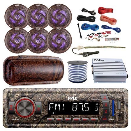 Reference Series Stereo - Pyle Marine DIN Bluetooth MP3 USB AUX Camo AM/FM Radio, 6x 6.5