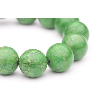 - Round - Shaped Green Man Made Turquoise Beads Semi Precious Gemstones Size: 14x14mm Crystal Energy Stone Healing Power for Jewelry Making